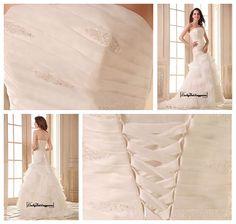 Alluring Satin&Organza Satin A-line Strapless Neckline Dropped Waistline Wedding Dress