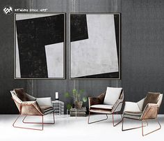 Abstract Painting Original Art Geometric Painting Large Paintings on Canvas, Black and White Set of