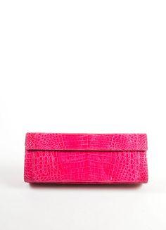 Hot Pink Crocodile Leather Rectangle Flap Clutch Bag
