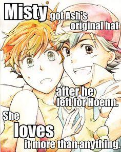 """""""Misty got Ash's original hat after he left for Hoenn. She loves it more than anything.""""anotherdirtysecret's headcanon Pokemon Pins, Pokemon Comics, Pokemon Memes, Pokemon Fan Art, Pokemon Couples, Anime Couples, Pokemon Ash And Misty, Ashes Love, Gym Leaders"""