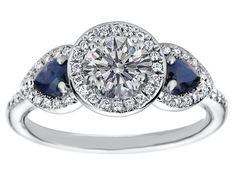 Halo Engagement Ring Blue Sapphire Side stones