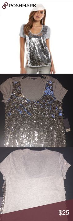 Women's Jennifer Lopez Sequin Scoop neck Tee-Med Bring style and shine to your wardrobe with this women's JL pailette sequin top. GRAY. Jennifer Lopez Tops Tees - Short Sleeve