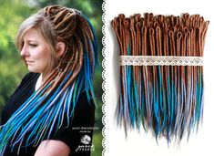 Wool Dreadlocks, woolen brown-blue dreads, felted, handmade dreads 40DE