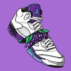 """Sneaker Art - Jordan V """"Grape"""""""