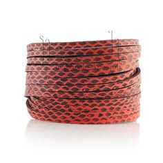 Sliced Wrap Red Water Snake Bracelet,Leather Cuff, Leather Cuff,Suede Bracelet, Red Snake Silver Wrap Bracelet, Presh Bracelet