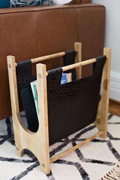 Wood + Leather Magazine Holder DIY by abeautifulmess.com | Torres Wool Kilim Rug by @west elm