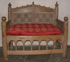 12th century Bishop's Chair, Gamla Uppsala Cathedral museum - The chair as it is normally displayed with a nice cushion.