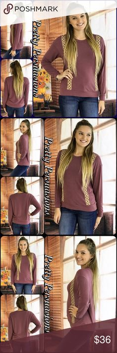 "NWT Mauve & Crochet Trim Casual Cozy Top NWT Mauve & Crochet Trim Casual Cozy Top  Available in S, M, L Measurements taken from a small  Length: 23"" Bust: 40"" Waist: 38""  Rayon/Poly/Spandex Made in the USA  * Also available in Navy in a separate listing *  * Model is wearing a size small *  Features  • cream crochet trim accents • long sleeves  • insanely soft material w/stretch • pull over design • rounded neckline  Bundle discounts available  No pp or trades  Item # 1/101230360MCT crochet…"