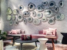 Paola Navone for Gervasoni, pink sofa Coffee Table Pouf, Round Coffee Table, Brass Ceiling Light, Paola Navone, Pink Sofa, Low Tables, Upholstered Furniture, Living Room Interior, Living Area