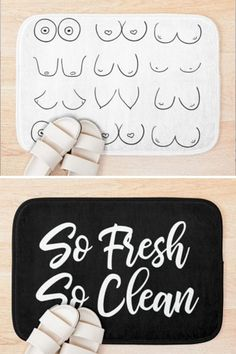 Unique, hilarious, and one-of-kind bathmats created by the popular Etsy shopt, AHAVTI Lifestyle. Choose from over 600 bathroom decor designs, with new designs being uploaded daily! Funny Bathroom Decor, White Bathroom Decor, Bathroom Humor, Black And White Design, White Art, Handmade Shop, Handmade Gifts, Towel Shelf, Fresh And Clean