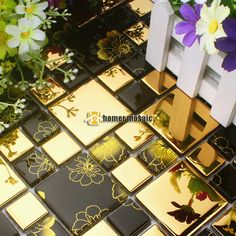 Cheap mosaic tile pieces, Buy Quality mosaic tile art patterns directly from China mosaic tiles for sale Suppliers: black golds glass printing flower mosaic tile HMGM2038A for mesh backing bathroom bar wall backsplash tiles kitchen wall mosaic
