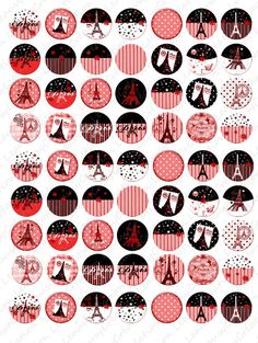 Digital image sheet Paris 1 inch circles by DigitalcollageLeausy
