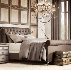This is a Restoration Hardware room. see how they have a dark bed, but lighter walls?