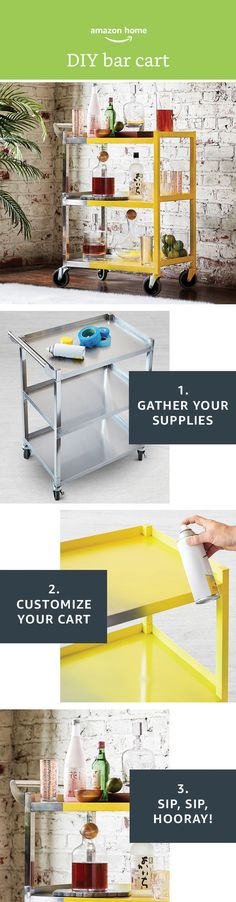 DIY bar cart! Create the perfect addition to your kitchen or entertaining space today. Shop everything you need on Amazon.com!