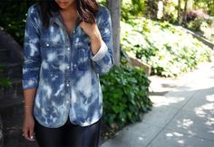Honestly WTF's DIY Tie Dye Denim Shirt - see more of our Top 5 DIY Denim Shirts here http://blog.mjtrim.com/2012/09/15/top-5-diy-denim-shirts/