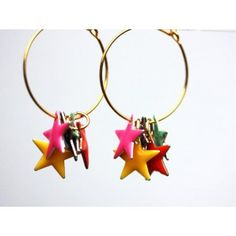 Handmade earrings with colourful dankly stars.