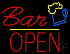 Bar Open Neon Sign 24 Tall x 31 Wide x 3 Deep, is 100% Handcrafted with Real Glass Tube Neon Sign. !!! Made in USA !!!  Colors on the sign are Yellow, Blue and Red. Bar Open Neon Sign is high impact, eye catching, real glass tube neon sign. This characteristic glow can attract customers like nothing else, virtually burning your identity into the minds of potential and future customers. Bar Open Neon Sign can be left on 24 hours a day, seven days a week, 365 days a year...for decades.