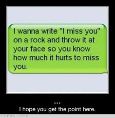 """I wanna write 'I miss you' on a rock and throw it at your face so you know how much it hurts to miss you."" ~Unknown"
