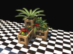 Combinación de jardineras alta y baja de la línea NOA. Combinado entre madera tintada y lacado color. Inalterables y resistentes a los agentes climáticos