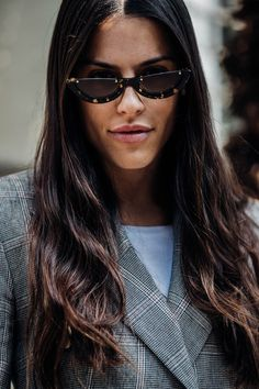 We have Kendall to thank for the popularity of this look. In short, lustrous locks and attitudinal Nineties shades are a match made in street style heaven.
