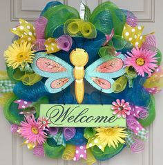 Spring+dragonfly+deco+mesh+wreath+by+OnMyFrontDoor+on+Etsy