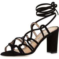 Manolo Blahnik Jena Suede Lace-Up Sandal (18,860 THB) ❤ liked on Polyvore featuring shoes, sandals, black, shoes sandals, black lace up sandals, black sandals, black lace up shoes, black shoes and manolo blahnik sandals
