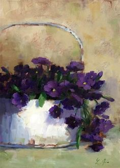 """Daily+Paintworks+-+""""Country+Purple""""+-+Original+Fine+Art+for+Sale+-+©+Linda+Jacobus"""