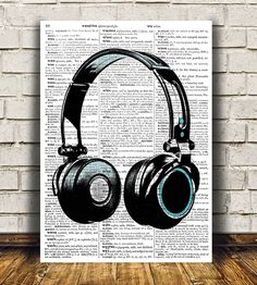 Music print Headphones poster Dictionary decor DJ by OneDictionary