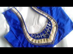 simple and beautiful designer saree blouse design cutting and stitching - YouTube