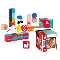 Pour faire des puzzles avec des cubes avec 30 cubes Kubix en bois massif de toutes les formes qui se transforment en perles à enfiler sur un gros lacet. Peinture à l'eau. Cubes Kubix présentés dans une boîte en carton avec poignée.