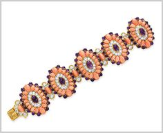 Van Cleef & Arpels. Panka Coral, Amethyst, Diamond, Platinum and Yellow Gold pieces, which are part of a seven piece suite from Richard Burton.  Van Cleef & Arpels. Larmartine Coral, Amethyst, Diamond, Platinum and Yellow Gold Bracelet (1970) © Christie's Images 2011. Sold for $782,500 SEE related pins.