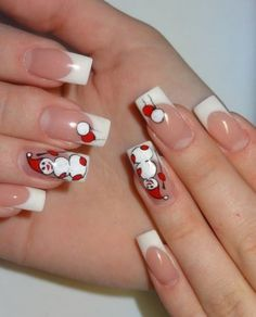 New Year's manicure snowman