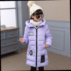49.90$  Buy here - http://alifh3.worldwells.pw/go.php?t=32773807483 - Kids Girls Fall Winter Long Style Jacket Coat Baby Girls Solid Color Hooded Cotton-padded Jacket Outerwear Thicken Warm Outfit