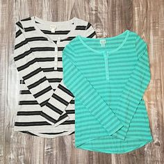 Striped Long Sleeve Shirt bundle Black & grey striped long sleeve shirt. No stains or tears. Size S. Excellent condition! Green striped Long Sleeve Shirt no stains or tears.  Size XS. Excellent condition. Mossimo Supply Co Tops Tees - Long Sleeve