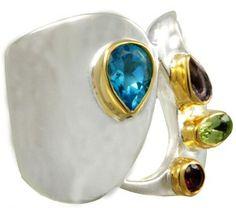 Unique Topaz, Amethyst, Peridot, and Garnet Ring