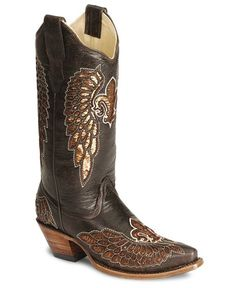 Corral Fleur-De-Lis Inlay Distressed Cowgirl Boot