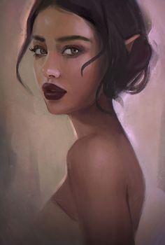 """Elf"" - gabbyd70 {figurative art beautiful female head pointed ear woman face portrait digital painting} http://gbbyd70.deviantart.com"