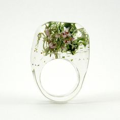 Moss And Heather Ring, Unique Clear Resin Ring with Natural Mixed Moss and Heather, Botanical Jewelry op Etsy, 41,03€