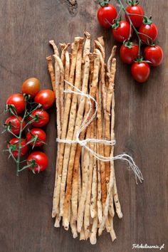 Original Italian Grissini Breadsticks with dried tomatoes.