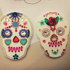 Emily Grace made these amazing necklaces at our Sugar Skull Necklace Workshop. Buy your tickets now: https://www.tattydevine.com/shop/featured/workshops/sugar-skull-workshop-3rd-november-2012.html