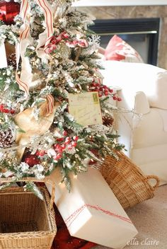 Use vintage baskets under a tree to hold gifts