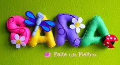 Faite un Fieltro: NOMBRES PAULA Y SARA Felt Name Banner, Felt Letters, Name Banners, Sewing Crafts, Sewing Projects, Projects To Try, Diy Arts And Crafts, Felt Crafts, Felt Animal Patterns