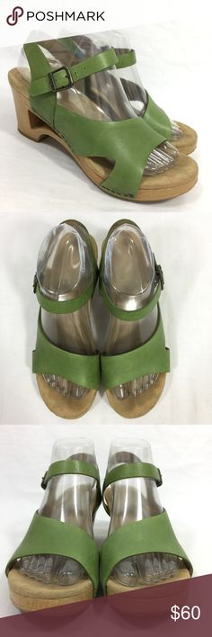Dansko Tasha Platform Wedge Sandals Green Size 38 Beautiful sandals with light wear to the leather uppers. The footbeds have a little staining and a few spots around the heel area.  The soles show minor wear. Women's US size 7.5-8 using Danskos shoe conversion chart for reference. Dansko Shoes Sandals