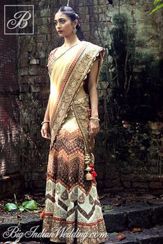 Ekru embroidered lehenga for weddings