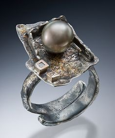 Ring | Nina Mann.  Sterling silver, gold, diamonds and pearls