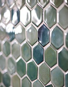 blue green hextile backsplash idea. Pretty