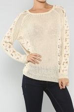 Embroidery Flower Sleeves Knitted Sweater, Cream