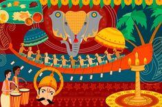 Happy Onam festival celebration background — Stock Illustration