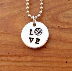 LOVE Basketball Necklace - Hand Stamped Aluminum Necklace with Basketball stamp, Sports Jewelry via Etsy