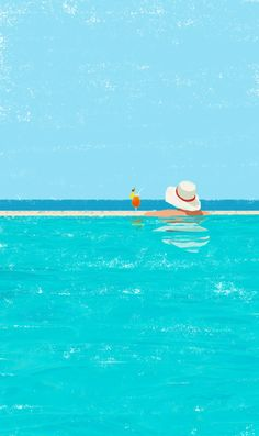 Canicule by Raphaelle Martin. It simply shows holidays in a swimming pool. Blue colour scheme is used beautifully to show the relaxation when you go for holidays. also the drink synergises the feeling of the painting with the colour scheme.